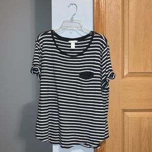 2/$15 H&M Basic Charcoal and White Striped T-Shirt